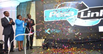Kenya Bankers Association (KBA) Vice Chairman John Gachora, Integrated Payment Services Limited CEO Jennifer Theuri and KBA Chief Executive Habil Olaka after the unveil of PesaLink