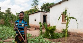 Kasama, Zambia.  Sharon and her husband grow maize, beans, and cassava on their farm. They are participating in the Catholic Relief Services financial diaries program. They have a baby girl, Florence.