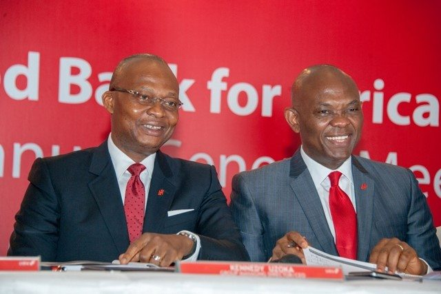 Group Managing Director/CEO, UBA Plc, Mr. Kennedy Uzoka and Group Chairman, Mr. Tony O. Elumelu, at the 55th Annual General Meeting of UBA Plc, held in Lagos on Friday