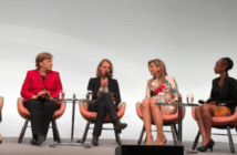 "IMF Managing Director Christine Lagarde, German Chancellor Angela Merkel, WirtschaftsWoche Editor in Chief Miriam Mekel, Queen Máxima of the Netherlands and Tech Entrepreneur and Co-Founder of BRCK and Ushahidi Juliana Rotich attending the W20 panel session under the title ""Inspiring Women: Scaling up Women's Entrepreneurship"" in Berlin, Germany."