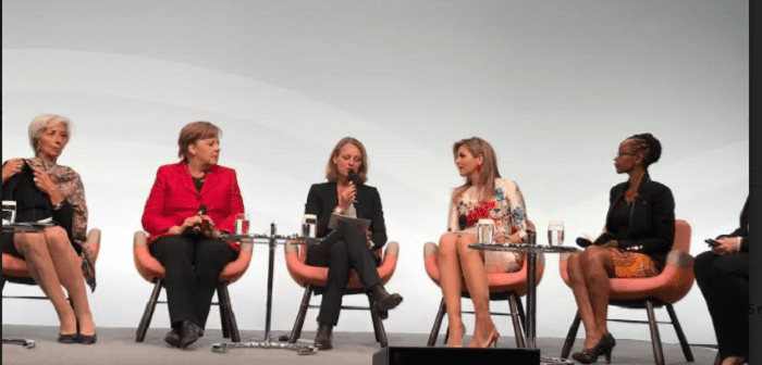 """IMF Managing Director Christine Lagarde, German Chancellor Angela Merkel, WirtschaftsWoche Editor in Chief Miriam Mekel, Queen Máxima of the Netherlands and Tech Entrepreneur and Co-Founder of BRCK and Ushahidi Juliana Rotich attending the W20 panel session under the title """"Inspiring Women: Scaling up Women's Entrepreneurship"""" in Berlin, Germany."""