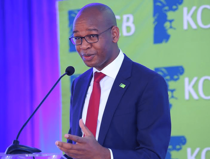 KCB Group CEO Joshua Oigara addresses the audience at the KCB 2015 Half Year Results