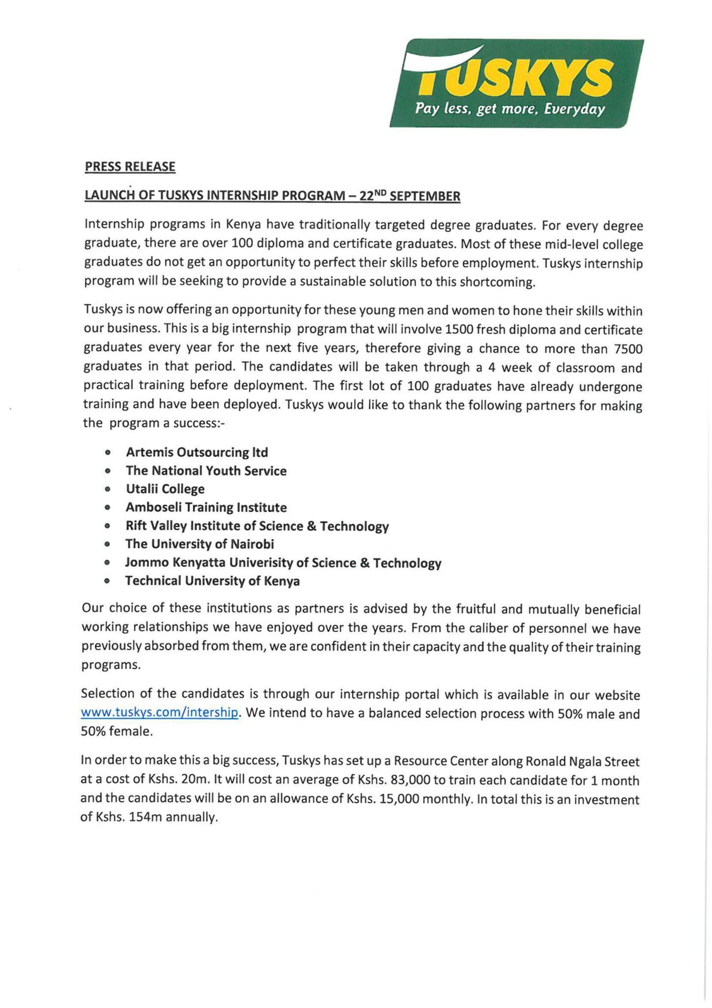 tuskys internship program - Soko Directory