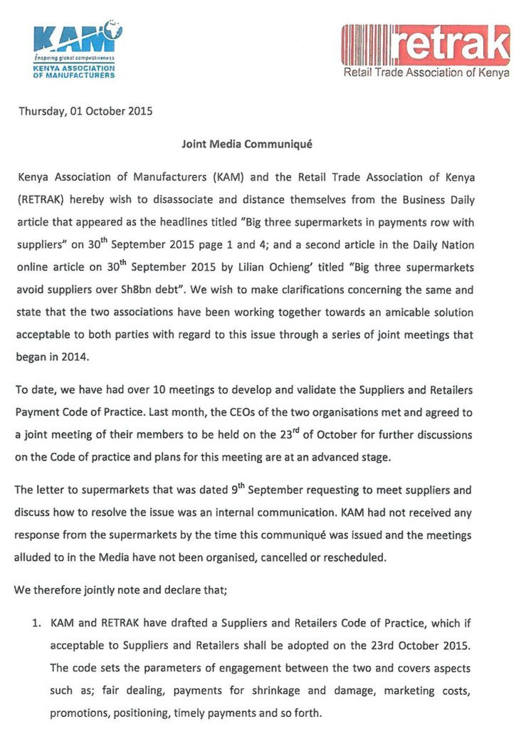A joint Media Communique from Kenya Association of Manufacturers and Retail Trade Association of Kenya on delays with regard to supplier payments.