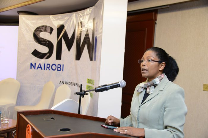 Eunice Kariuki, ICTA Director, makes a speech during the Social Media Week independent (SMWi) Partner launch at Serena Hotel in Nairobi. This is the first time the globally acclaimed conference will take place in Kenya.