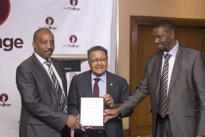 L-R Waithaka Mwangi, CEO Be The Change, Manu Chandaria, Chairman, Comcraft, Isaac Chege, Chairman, Pillar of Hope.