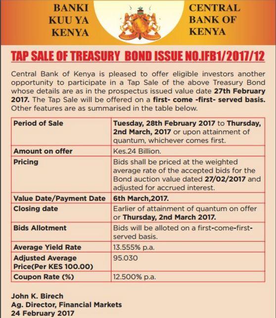 Tap Sale of Treasury bond Issue
